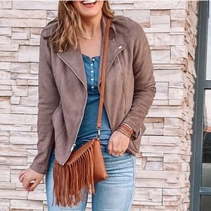 Brown/gray toned TALL faux suede Moto jacket
